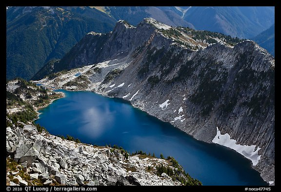 Hidden Lake from Hidden Lake Peak, North Cascades National Park.  (color)