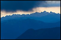 Storm clouds over layered ridges, North Cascades National Park. Washington, USA.