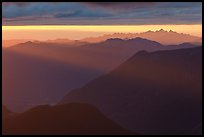Layered ridges at sunset, North Cascades National Park. Washington, USA.
