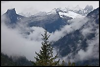 The Picket Range and clouds in rainy weather, North Cascades National Park. Washington, USA. (color)