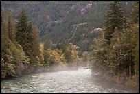 Fog rising from the Skagit River, North Cascades National Park Service Complex.  ( color)