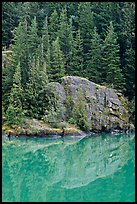 Trees and boulders reflected in Gorge Lake, North Cascades National Park Service Complex. Washington, USA.