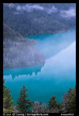 Turquoise waters and fog, Diablo Lake, North Cascades National Park Service Complex.  (color)