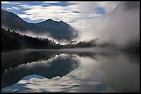 Moonlit fog, Diablo Lake, North Cascades National Park Service Complex. Washington, USA.