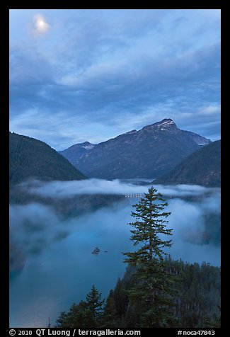 Diablo Lake, fog, and moon, dawn, North Cascades National Park Service Complex.  (color)