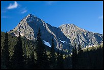 Fisher Peak and Mt Ariva, morning, North Cascades National Park. Washington, USA.
