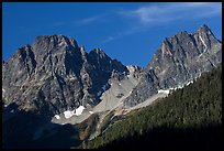 Rocky peaks on the eastern side of the range, North Cascades National Park.  ( color)