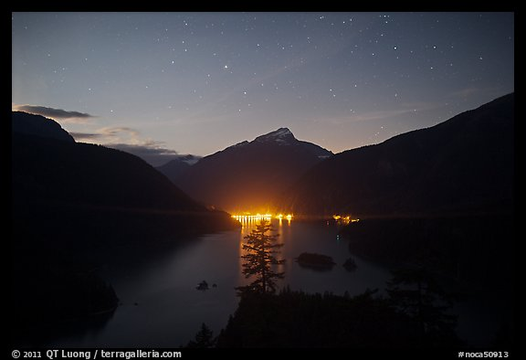 Diablo Lake by night with lights of dam,  North Cascades National Park Service Complex.  (color)