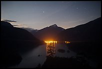 Diablo Lake by night with lights of dam,  North Cascades National Park Service Complex. Washington, USA.