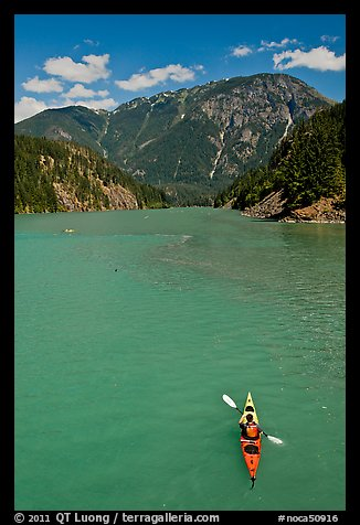 Kayaker on Diablo Lake,  North Cascades National Park Service Complex.  (color)