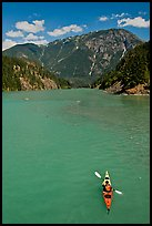 Kayaker on Diablo Lake,  North Cascades National Park Service Complex. Washington, USA. (color)