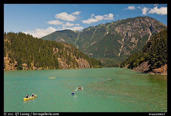Canoes and kayaks on Diablo Lake,  North Cascades National Park Service Complex. Washington, USA.