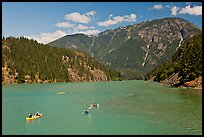 Canoes and kayaks on Diablo Lake,  North Cascades National Park Service Complex. Washington, USA. (color)