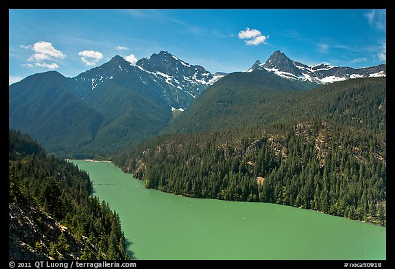 Diablo Lake with green waters, morning,  North Cascades National Park Service Complex.  (color)