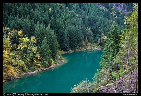 Emerald waters of Gorge Lake in autumn, North Cascades National Park Service Complex.  (color)