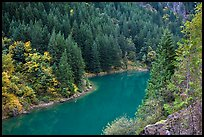 Emerald waters of Gorge Lake in autumn, North Cascades National Park Service Complex.  ( color)