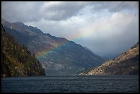 Lake Chelan and rainbow, North Cascades National Park Service Complex.  ( color)