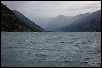 Rain, Lake Chelan, North Cascades National Park Service Complex.  ( color)