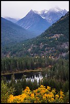 Coon Lake and Agnes peak in autumn, North Cascades National Park Service Complex.  ( color)