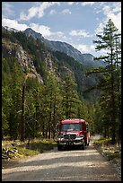 National Park shuttle bus on Stehekin Valley road, North Cascades National Park Service Complex.  ( color)