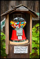Bike through gumball dispenser, Stehekin, North Cascades National Park Service Complex.  ( color)
