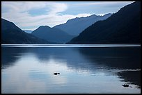 Lake Chelan reflections, Stehekin, North Cascades National Park Service Complex.  ( color)