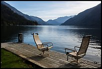 Two chairs and a buoy on deck, Lake Chelan, Stehekin, North Cascades National Park Service Complex.  ( color)
