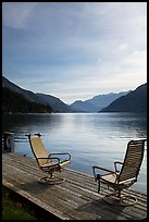 Two chairs on the shore of Lake Chelan, Stehekin, North Cascades National Park Service Complex.  ( color)