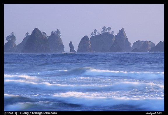 Waves and seastacks, Shi-Shi Beach. Olympic National Park (color)