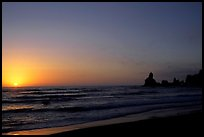 Shi-shi beach with sun setting. Olympic National Park, Washington, USA.