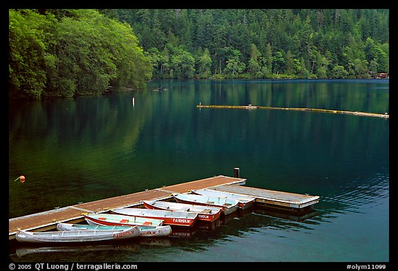 Emerald waters, pier and rowboats, Crescent Lake. Olympic National Park (color)