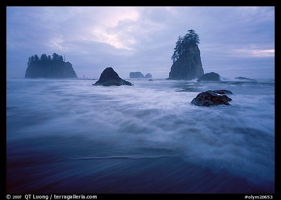 Seastacks, surf, and clouds, Second Beach. Olympic National Park, Washington, USA.