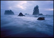 Seastacks, surf, and clouds, Second Beach. Olympic National Park ( color)