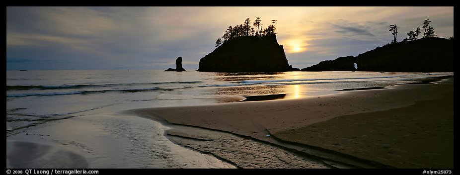 Stream and beach at sunset. Olympic National Park (color)