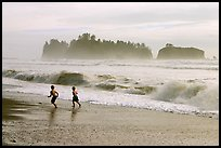 Children running along surf, Rialto Beach. Olympic National Park ( color)