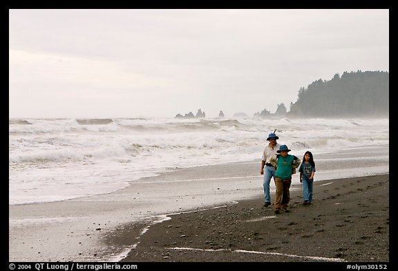 Family walking on Rialto Beach. Olympic National Park (color)
