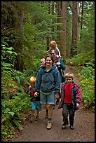 Family walking on forest trail. Olympic National Park, Washington, USA. (color)