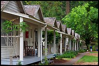 Cabins of Crescent Lake Lodge. Olympic National Park, Washington, USA. (color)