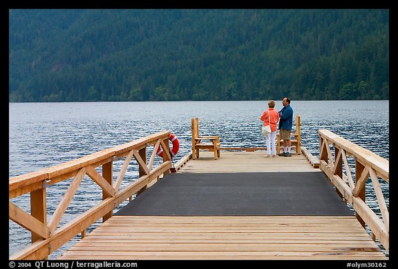 Couple on Pier, Crescent Lake. Olympic National Park (color)