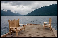 Two chairs on pier, Crescent Lake. Olympic National Park, Washington, USA. (color)