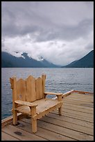 Chair on pier, Crescent Lake. Olympic National Park, Washington, USA. (color)