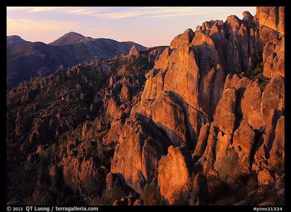 High Peaks with Chalone Peak in the distance, sunrise. Pinnacles National Park (color)