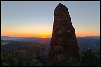 Rock pillar and setting sun. Pinnacles National Park, California, USA. (color)