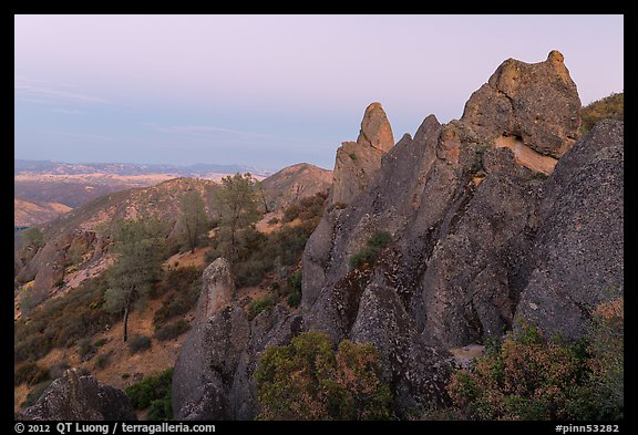 High Peaks rock crags at dusk. Pinnacles National Park (color)