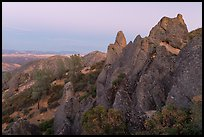 High Peaks rock crags at dusk. Pinnacles National Park, California, USA. (color)