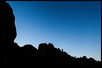 Rocky ridge and stars at twilight. Pinnacles National Park ( color)