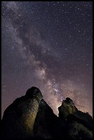 Milky Way and rocky towers. Pinnacles National Park, California, USA. (color)