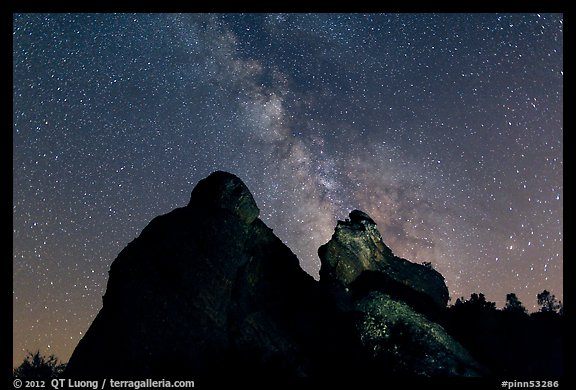 Night sky with Milky Way above High Peaks rocks. Pinnacles National Park (color)