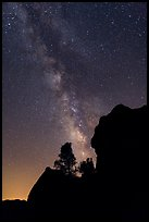 Rocks and pine trees profiled against starry sky with Milky Way. Pinnacles National Park, California, USA. (color)