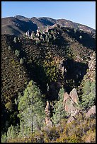 Gabilan Mountains dotted with rock pinnacles. Pinnacles National Park ( color)